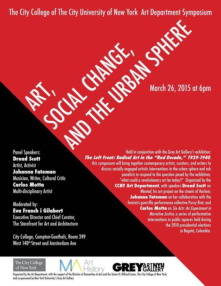 Art Social Calendar : Art social change and the urban sphere international