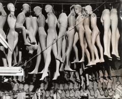 Weegee, [Mannequins hanging from the ceiling in a shop, Hollywood], ca. 1950. © Weegee/International Center of Photography (19006.1993).