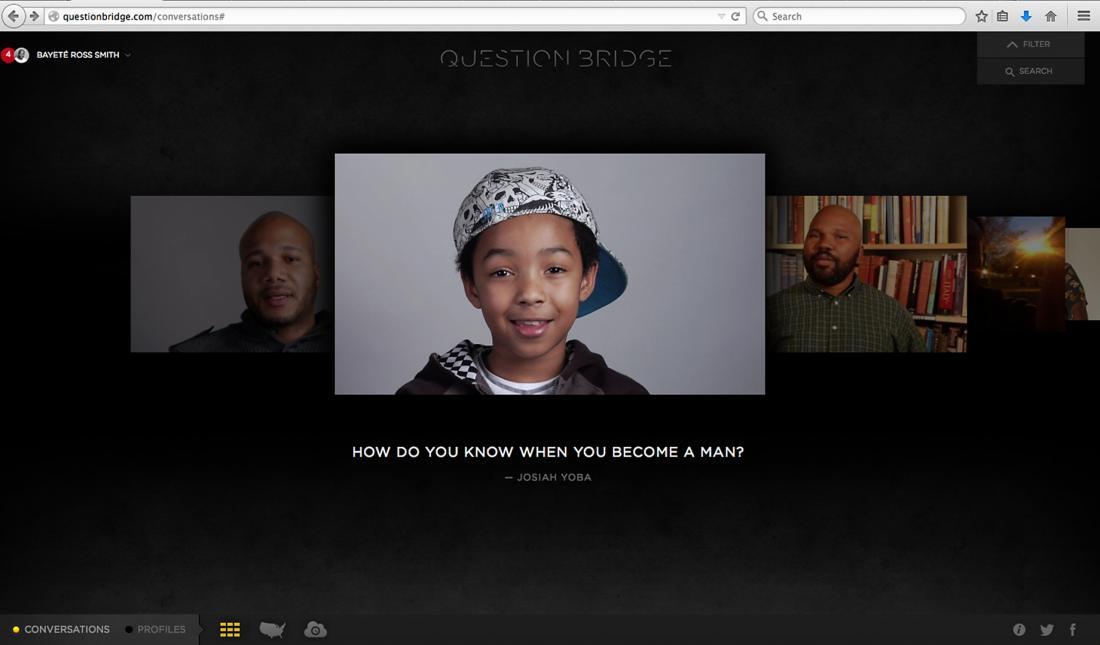 Screenshot from Question Bridge website.