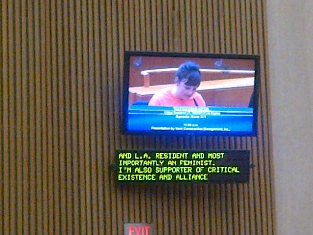 Heather M. O'Brien speaking as a member of Critical Resistance against a new women's jail, Board of Supervisors meeting in Los Angeles, 2012. Photo by Linette Park.