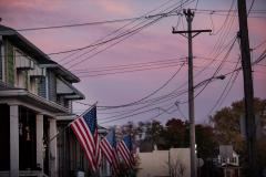 """Hilary Swift, [The sun rises on Election Day in Ambridge, Pa.], from """"Election in the Rustbelt,"""" 2016. © Hilary Swift"""